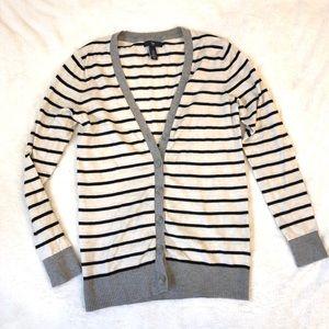 Gap Cream/Black Striped Button-up Cardigan Sweater